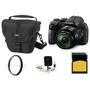 Panasonic Lumix DMC-FZ300 12.1MP Digital Camera 24x Zoom - Bundle with Camera Case, 16GB SDHC Card, 52mm UV Filter, Cleaning Kit