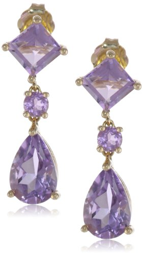 14k Yellow Gold Pear and Square Shaped Amethyst Dangle Earring
