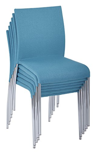 AVE SIX Conway Stacking Chair in Aqua Fabric, Fully Assembled, 6-Pack (Aqua Stacking Chair)