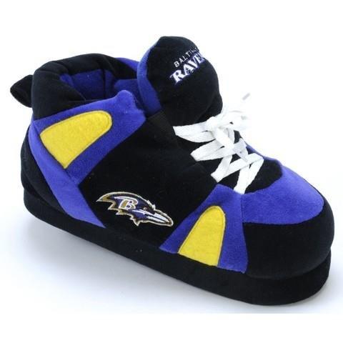 Comfy Feet Men's Baltimore Ravens 01 Indoor Slippers,Black/Purple,S M US