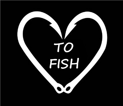 window decals fish hook heart - 2