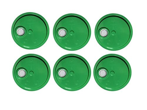 5 Gallon Bucket Lids,Green Reike Flex Spout Plastic Bucket Lid | Pail Lid-UN Rated-6 Pack