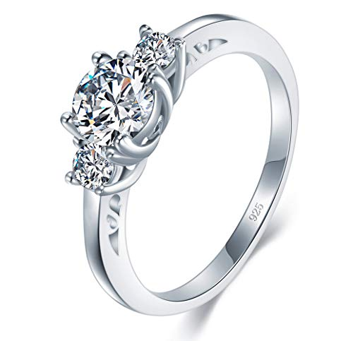 - BORUO 925 Sterling Silver Ring, Cubic Zirconia CZ Diamond Eternity Engagement Wedding Band Ring Size 12