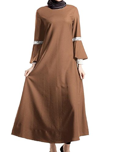 Sleeve Lace Long Pure Dresses Muslim Women Brown Abaya Trim Coolred Color FTSaHS