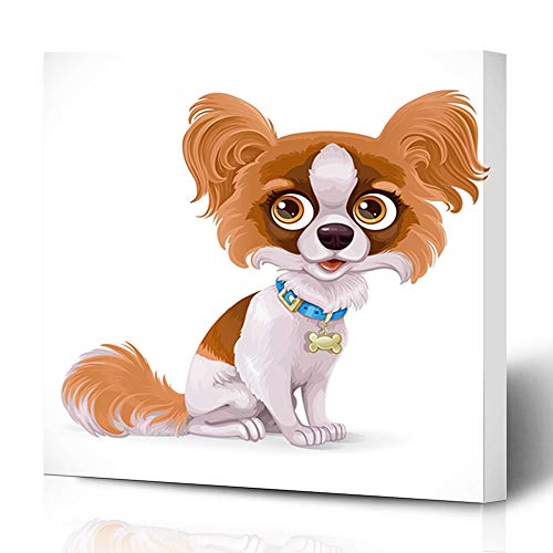 Ahawoso Canvas Prints Wall Art 16x16 Inches Doggy Dog Cute Papillon Butterfly Little Puppy Baby Nature Characters Fluffy Funny Design Decor for Living Room Office Bedroom