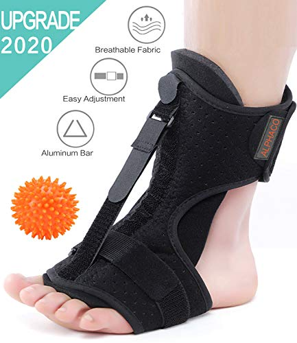 Plantar Fasciitis Night Splint Support Brace, Adjustable Dorsal Night Splints for Plantar Fasciitis, Heel, Ankle, Arch Foot Pain, Achilles Tendonitis Brace and Foot Massager Plantar Fasciitis Ball