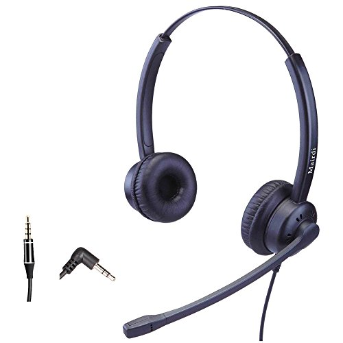 Phone Headset With 2.5mm Jack for Office with Noise Cancelling Mic Compatible with Jabra Cisco Polycom Panasonic Plus 3.5mm Connector for Cell Phone Apple iPhone Samsung ()