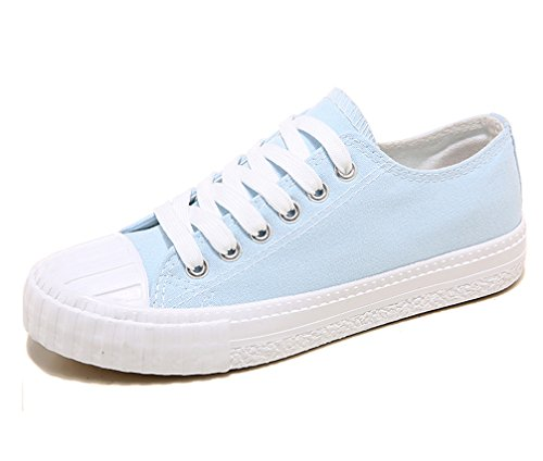 VECJUNIA Ladies Classic Stitching Lace Up Anti-Skid Low Top Flat Canvas Sneakers Blue Hhggg9aB