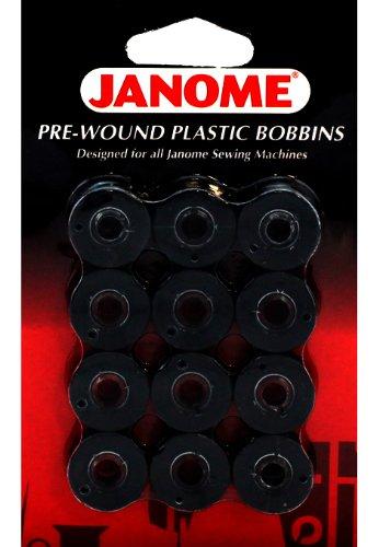Janome 12 Pack Pre-Wound Plastic Bobbins Black Thread