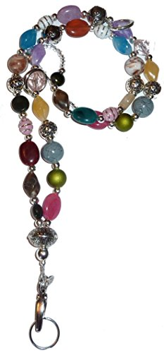 Chunky Multi Fashion Women's Beaded Lanyard with break away magnetic clasp 34 inches