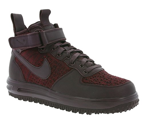 Nike Dames Lf1 Flyknit Workboot Hi Top Boots Trainers 860558 Sneakers Deep Burgundy / Deep Burgundy-team Rood