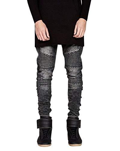 Especial Pieghe Grau Estilo Fit A Casual Jeans Denim Vintage Da Lunghi Slim Elasticizzati Moda Uomo Pantaloni Skinny U0wgX