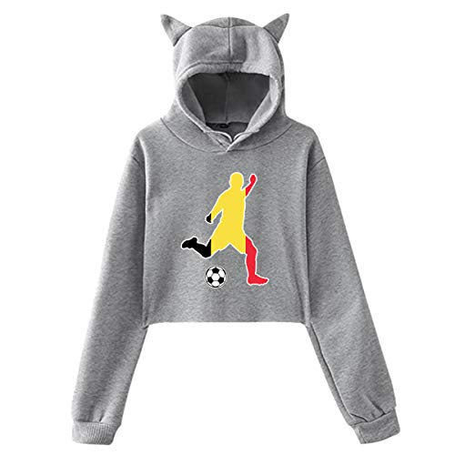 Cat Ear Hoodie Sweater for Women Belgium Flag Soccer Player Sexy Revealed Navel Hooded Crop Tops