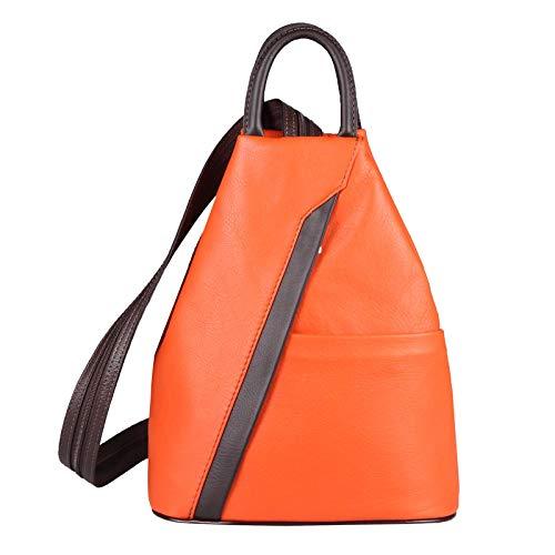 marrone Donna Bxhxt Made Borsa Arancione Di In Obc 25x30x11 Circa Stira Mini Italy Zaino Cm Tracolla Nappa Vera Pelle wq1SUdAX