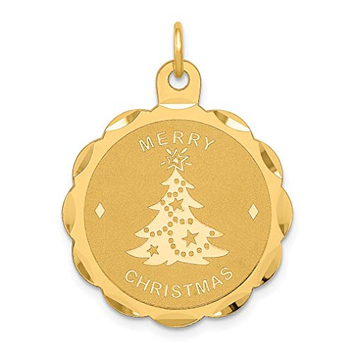 Mireval 14k Yellow Gold Merry Christmas Disc Charm (22 x 29 mm)