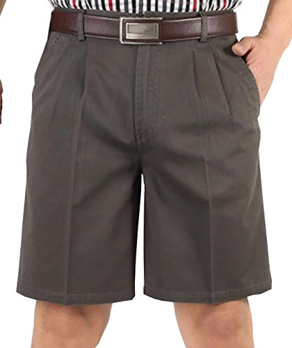 BYWX-Men High Rise Cotton Casual Double-Pleat Classic-fit Shorts Dark Gray 42 ()