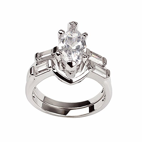 Nicole Marquise Baguette Bridal Engagement Wedding Band Ring Set Ginger Lyne Collection