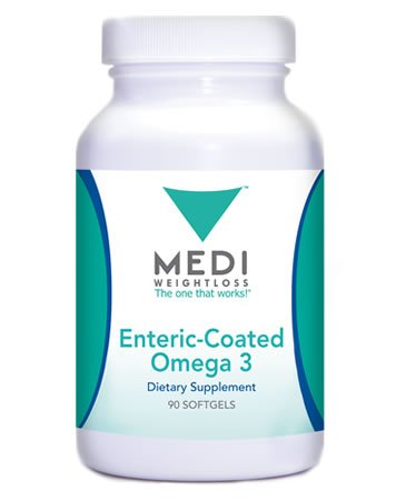 Medi-Weightloss Omega 3 - Fish Oil Capsules - ENTERIC Coated - 1000mg per Serving (90 softgels) Dietary Supplement