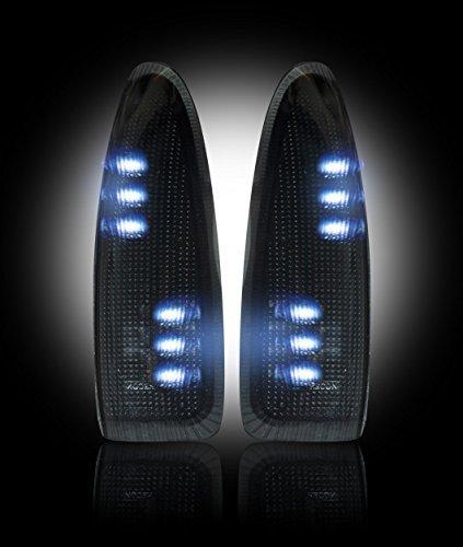 Razer Auto Side Mirror Turn Lights WHITE LED SMOKE Lens Replacement Kit, Mirror LED Lights, Smoke LENS & Black Base & White LED for 03-07 Super Duty