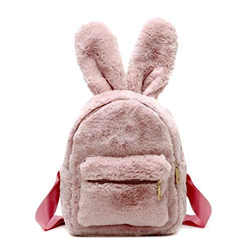 Fluffy Pink Bunnies (Donalworld Women Bunny Rabbit Backpack Purse Snack Bag Travel Shoulder Bag Pk)