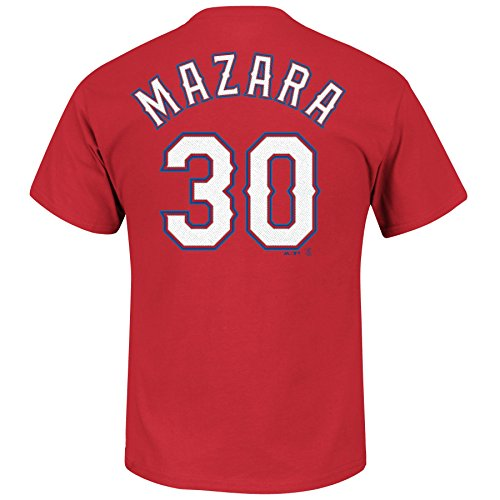 Nomar Mazara Texas Rangers #30 Youth Player T-Shirt Red (Small 8) Texas Rangers Player