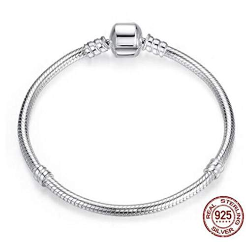 Original 925 Sterling Silver Moments Pave Heart Clasp with Crystal Pan Bracelet Bangle Fit Bead Charm DIY Europe Jewelry,1,22cm