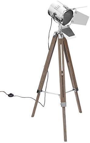 Diseño Lámpara de pie TRIPOD trípode Altura Ajustable Madera Metal regulable mediante metal solapas Modern Salón trípode suelo lámpara de pie retro lámpara de techo Foco Spot LED BRIL librum Flyer: Amazon.es:
