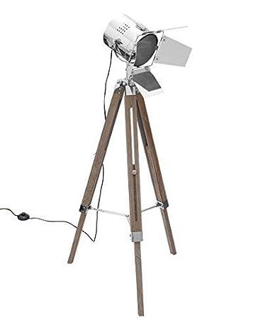Diseño Lámpara de pie TRIPOD trípode Altura Ajustable Madera ...