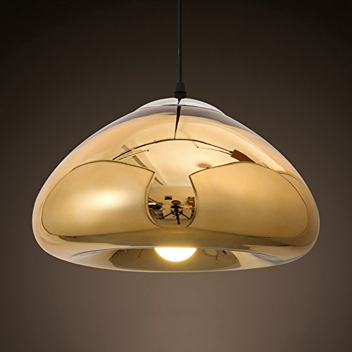 Hines Creative Brass Bowl Glass Mirror Pendant Lamp Modern Minimalist Electroplating Glass Chandeliers Restaurant Dining Table Bar Kitchen Island Ceiling Light (Color : Gold, Size : Large) ()