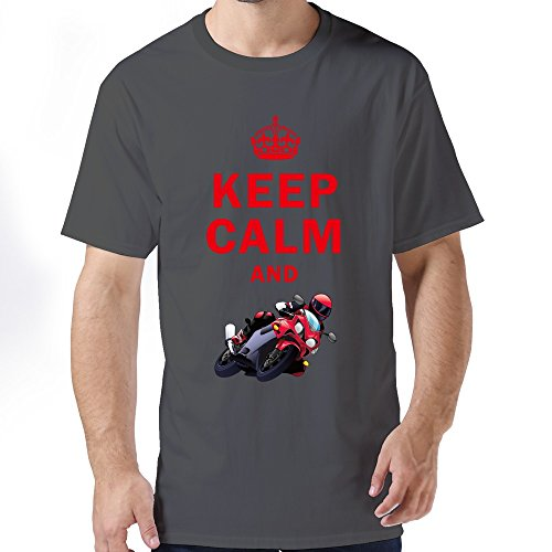 FZLB Men's Keep Calm And Play Motorcycle Racing T-Shirt XX-Large DeepHeather