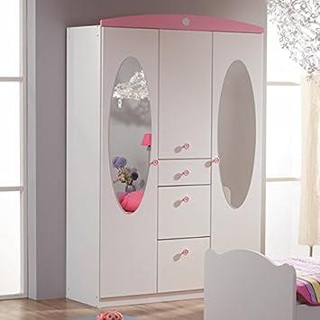 Kleiderschrank 3 Türen B 136 cm weiß/rosa Schrank Drehtürenschrank  Wäscheschrank Kinderzimmer Jugendzimmer Mädchen Kinderzimmerschrank