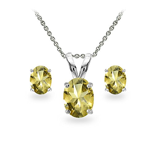 Citrine Pendant Set - GemStar USA Sterling Silver Citrine Oval-cut Solitaire Necklace and Stud Earrings Set