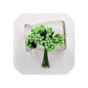 Old street 12Pcs/lot Handcraft Artificial Flowers Stamen Sugar Wedding Party Decoration DIY Wreath Gift Box Scrapbooking Fake Flowers,Light Green 34