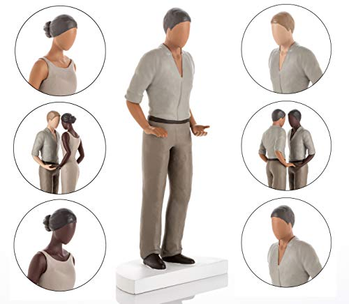 Wedding Cake Toppers - Bride and Groom Figurines. Mix and Match - Suitable for Straight, Gay, Lesbian, Caucasian, Interracial and African American Couples. Mid Skin Tone Male -