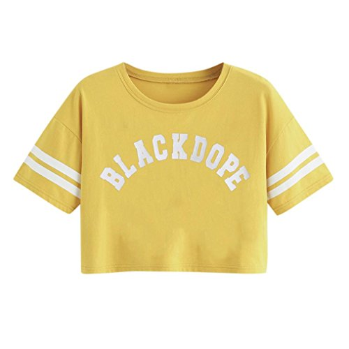 Ecru Letter - WOCACHI Women Blouse Summer Casual Short Sleeve Stripe Letter Print Blouse Tops T-Shirt