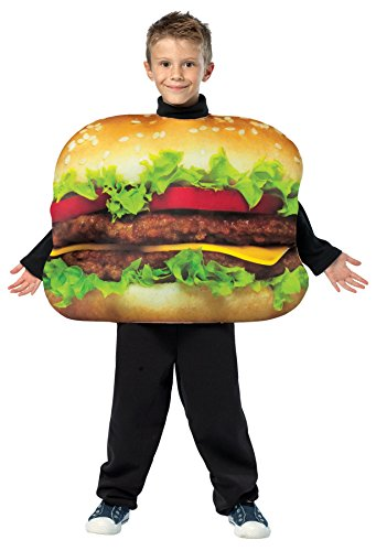 UHC Cheeseburger Outfit Funny Theme Fancy Dress Child Halloween Food Costume, Child M (Baby Burger Halloween Costume)
