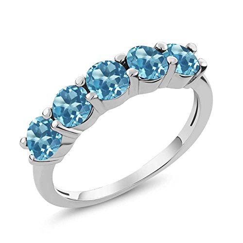 925 Sterling Silver Swiss Blue Topaz 5-Stone Women's Band Ring 1.65 Ct Round Gemstone Birthstone (Size 7) (925 Sterling Silver Swiss)