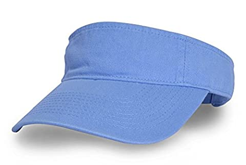 KC Caps Unisex Washed Cotton Twill Solid Sports Sun Visor Hat Blue - Cotton Tennis Hat