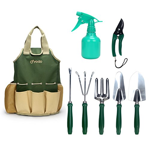Yodo 8 piece garden tools set for men women heavy duty for Ladies garden trowel set