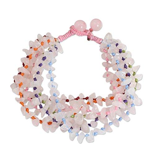 "NOVICA Rose Quartz Beaded Bracelet, 7.5"""