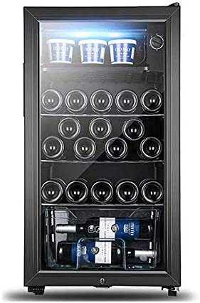 Thermoses 120Lワインクーラー冷蔵庫 - 黒赤ワイン冷蔵庫チラーカウンターワインクーラー - 自立型コンパクトミニワイン冷蔵庫120L |LEDライト+ 3-15°C |低エネルギーB +(ブラック)[エネルギークラスB +]