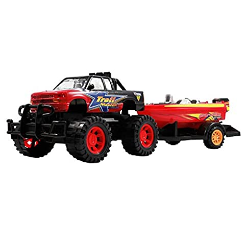 Speed Max King Friction Power Monster Truck Speed Boat Hauler Play Set by Kid Fun - Red Monster Truck