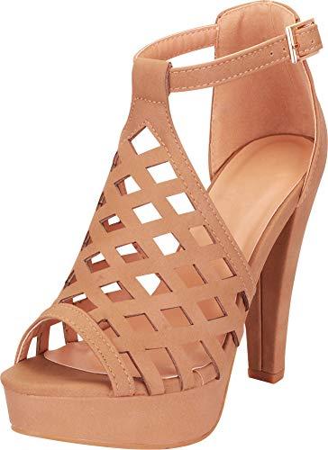 Cambridge Select Women's Laser Cutout Caged Chunky Platform High Heel Sandal,10 B(M) US,Tan PU