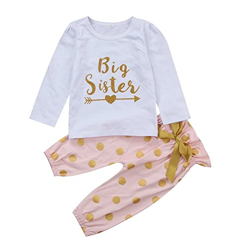 hesheng Baby Girls Clothes Little Big Sister T-Shirt Romper + Polka Dot Pants Bowknot Outfits Set (90/18-24months, Big Sister) (Big Sister Toddler T-shirt)