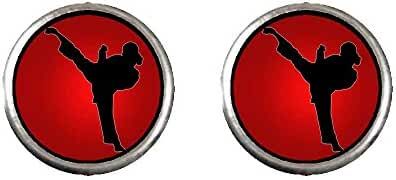 GiftJewelryShop Silver Plated Olympics female taekwondo roundhouse kick to right Photo Stud Earrings #10