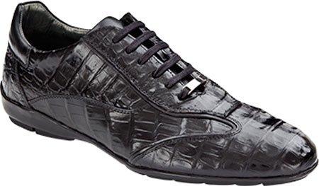 Mezlan Herenschoenen Glasgow Croc Sneaker Zwart Echte Krokodil / Nappa / Suede