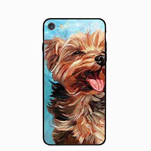 iPhone 6S 6 Case Women Slim Happy Yorkie Puppy Printed Rubber Shockproof Bumper Protective Anti-Scratch -