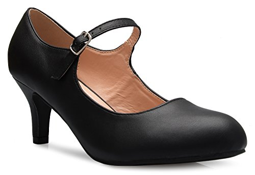 OLIVIA K Womens Classic Low Mid Heels Mary Jane Pumps - Adorable Round Toe Vintage Retro Shoes (Leather Mid Heel Pumps)