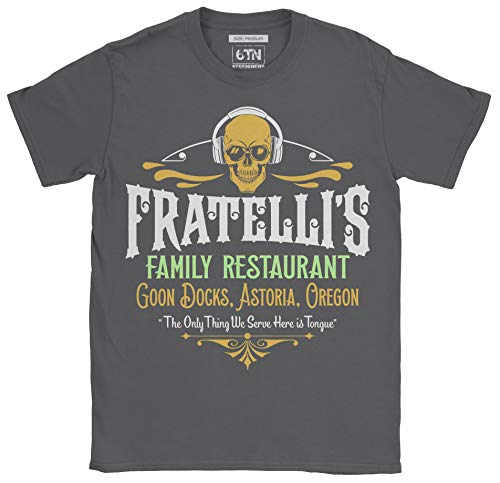 6TN Mens Fratelli's Family Restaurant Goon Docks Astoria T Shirt (X-Large, Charcoal)