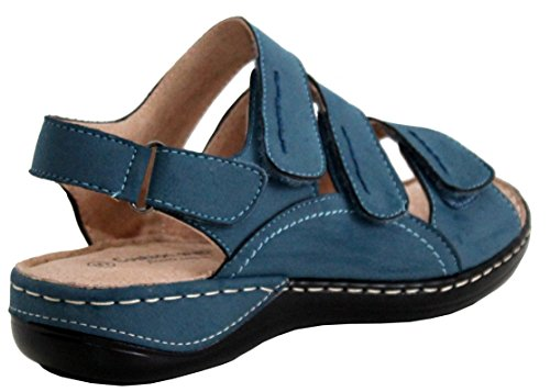 Cushion Walk Womens Ladies Lightweight Triple Touch Fastening Straps Girls Summer Beach Sandals Shoes UK Sizes 3-8 Blue 3al2rVJ